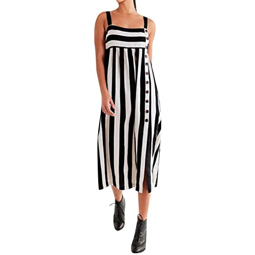 18d7b4f65d6d JSPOYOU Women Dress Striped Sleeveless with Button Casual Summer Dresses  White