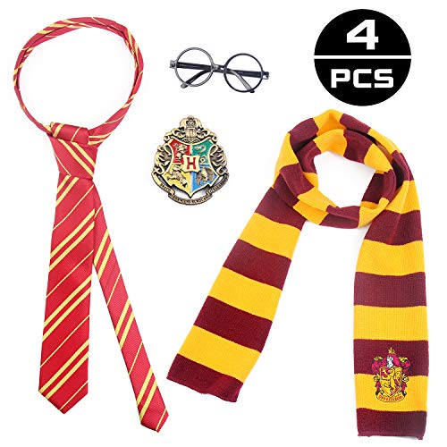 NIUBANG 4 PCS Magic Set Novelty Glasses Scarf Tie with College Badge Party Favors Accessories Halloween Dress Up Cosplay Costume for Kids Girls Boys