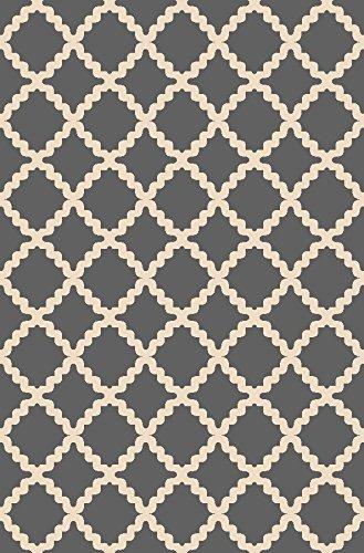 ADGO Collection, Modern Contemporary Rectangular Design Rubber-Backed Non-Slip (Non-Skid) Area Rugs| Thin Low Profile Indoor/Outdoor Floor Rug (4' x 6', AD10073 - Grey (Look Indoor Outdoor Area Rug)