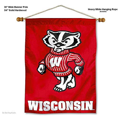 (College Flags and Banners Co. Wisconsin Badgers Bucky Badger Banner with Hanging Pole)