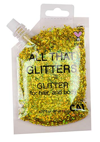 - Hair and Body Glitter Bag Pouch Holographic Cosmetic Grade Glamour 90ml, Gold