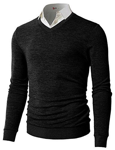 H2H Men's Wool Blend Solid V-Neck Sweater Pullover BLACK US M/Asia L (CMOSWL018)