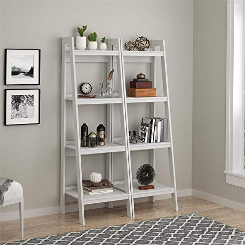 Adorable Space Saving Tough Durable Hayes 4 Shelf Ladder Bookcase Bundle, Pristine White - Perfect for Showcasing Pictures, Mementos and Other Special Items
