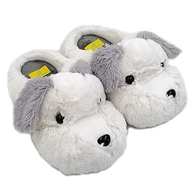 Millffy 2019 New Adult Sized Animal Slippers Fuzzy Schnauzer Dog Unisex Non-Slip Warm Plush Slippers White Size: US 5-7