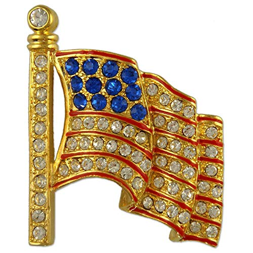 (Large Crystal Patriotic American Flag Brooch Made with Swarovski Elements (Gold Plated))