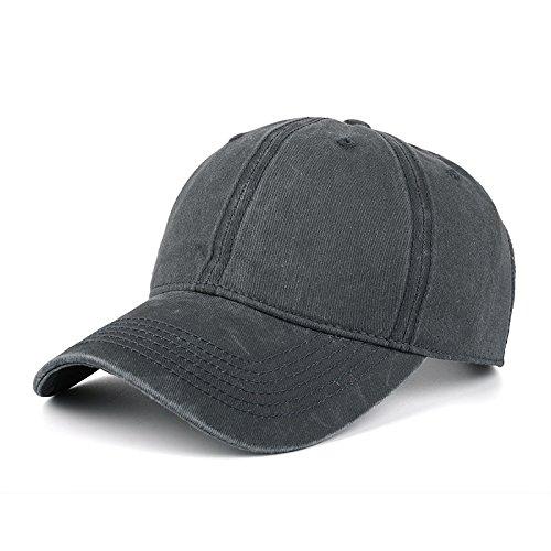AKIZON Plain Hats Blank Solid Color Baseball Dad Cap Cotton For Men Women & Kids, Dark (Felt Top Female Hat)