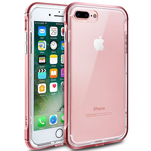 iPhone 7 Plus Case, iPhone 8 Plus Case, LOEV [Raised Lip Design] [Crystal Clear] Anti-Scratch & Shock-Absorbing Protective Case TPU + PC Bumper Cover for Apple iPhone 7/8 Plus 5.5 - Rose Gold