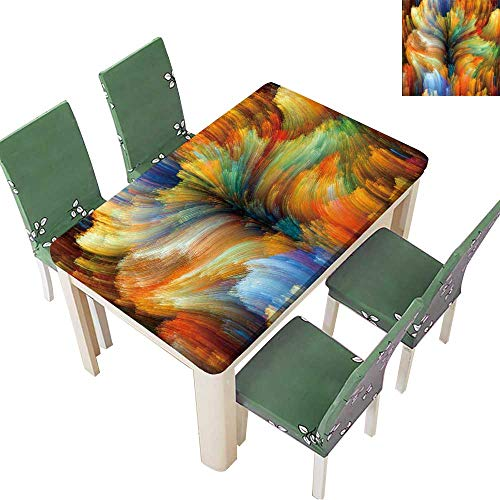 Printsonne Natural Tablecloth Colors in Bloom Series Composition of Fractal Color Textures on The Subject for Home Use, Machine Washable 50 x 72 Inch (Elastic Edge)