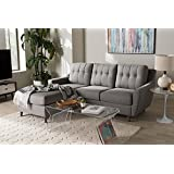 2-Pc Button-Tufted Sectional Sofa Set in Gray