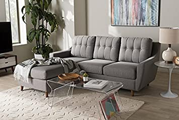 Amazon.com: 2-Pc Button-Tufted Sectional Sofa Set in Gray ...
