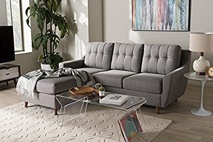 Amazon.com: 2-Pc Button-Tufted Sectional Sofa Set in Gray: Kitchen ...
