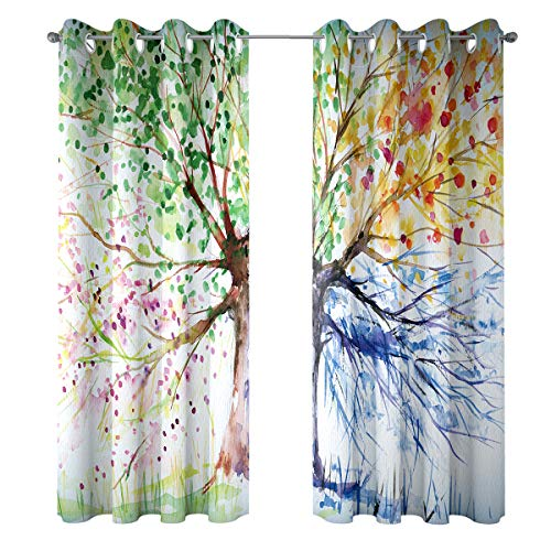 Riyidecor Watercolor Tree Windows Curtains Blackout Colorful Nature Abstract Art Navy Crayon Four Seasons Spring for Living Room Bedroom Window Drapes Treatment Fabric (2 Panels 52 x 84 Inch) (Bedroom Colorful Curtains)
