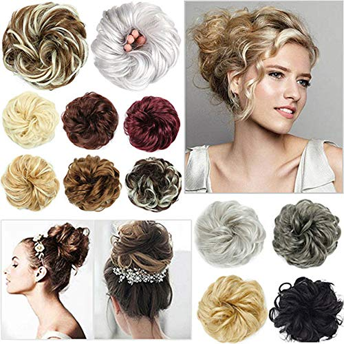 aSulis Hair Bun Extensions Wavy Curly Messy Hair Extensions Donut Hair Chignons Hair Piece Wig Hairpiece Donut Updo Ponytail (Light Brown)