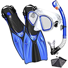 Promate snorkel set snorkeling fins mask and dry snorkel gear bag set for adult youth snorkeling set