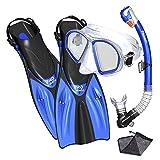 Promate Spectrum Snorkeling Fins Mask Snorkel Set, Blue, MLXL