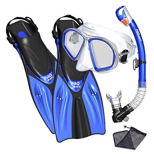 Promate Spectrum Snorkeling Fins Mask Snorkel Set, Blue, (Womens Snorkel)