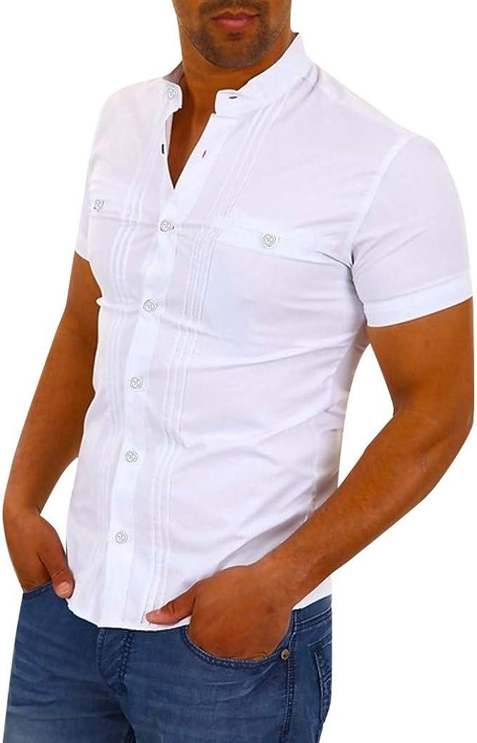 Pandaie Mens Blouse Shirts Mens Slim Pure Color Zipper Casual Fashion Lapel Short Sleeve Shirt