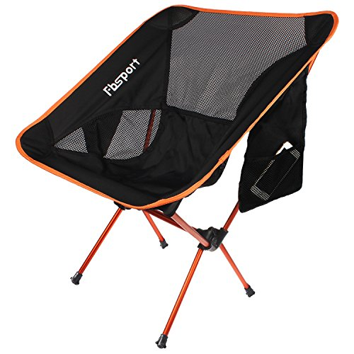 Orange Outdoor Folding Chairs (Lightweight Folding Camping Backpack Chair and Table,FBSPORT Compact & Heavy Duty Portable Chairs and Table For Hiking Picnic Beach Camp Backpacking Outdoor Festivals (camping chair----Orange))