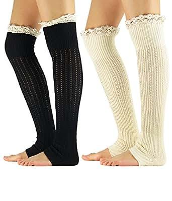 Zando Stylish Women's Leg Warmers Thick Crochet Long Boot