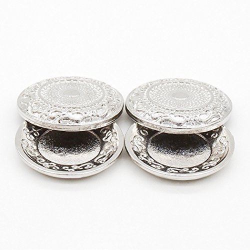 Odoria 1:12 Miniature 2PCS Silver Fancy Carved Platter with Lid Dollhouse Kitchen Accessories - 1 Platter