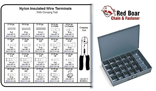 """Nylon Insulated Wire Terminals With Crimping Tool in 21 Hole Metal Tray Assortment (13-3/8""""w x9-1/4""""d x 2""""h) by RED BOAR Chain (Image #2)"""