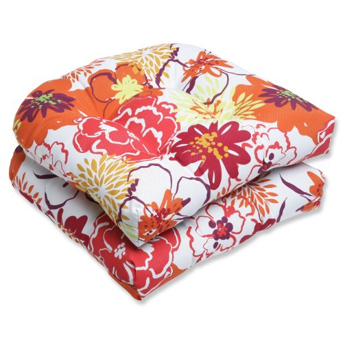 Pillow Perfect Outdoor Floral Fantasy Wicker Seat Cushion, Raspberry, Set of 2 price