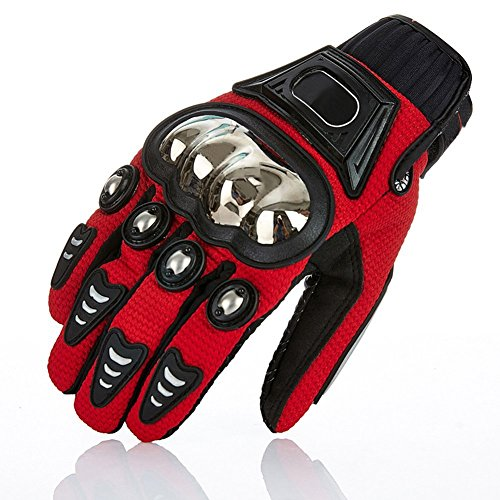 TINTON LIFE Metal Protective Motorcycle Gloves Full Finger Gloves Summer Motorbike Gloves, Red XX-Large