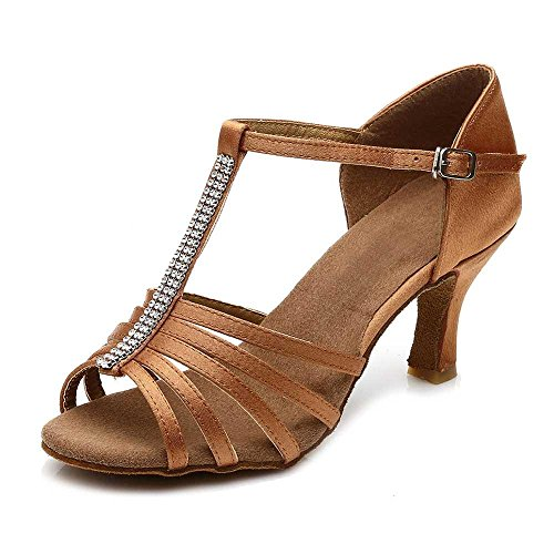 YFF Sala de baile de tango zapatos de baile latino de mujeres bailando 5cm / 7cm talón Brown 7cm