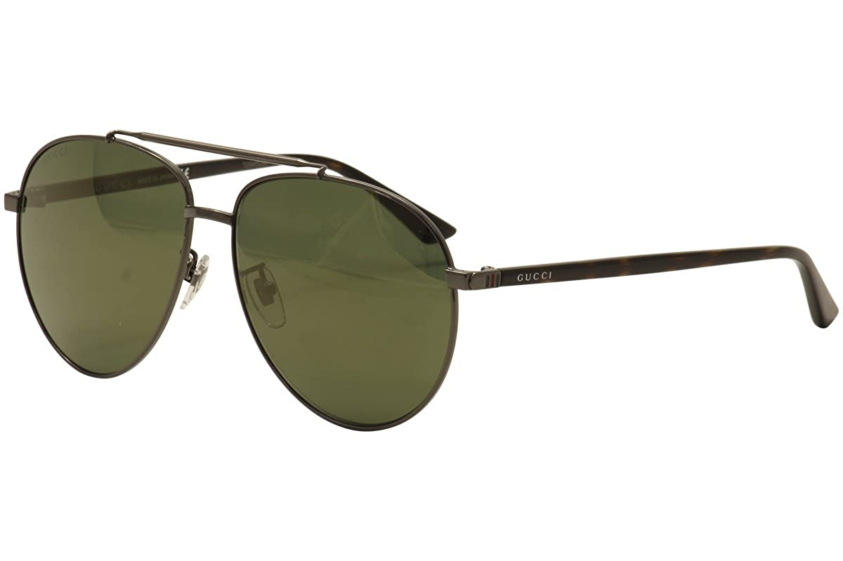 92797fb8ba605 Amazon.com  Gucci GG 0043SA 001 Asian Fit Silver Metal Aviator Sunglasses  Blue Mirror Lens  Clothing