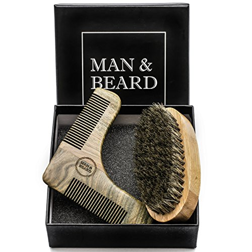 ManBeard – Beard Shaping Tool Kit with Sandalwood Comb Template and Sandal Wood Brush with Wild Boar Bristles for Beard and Mustache Trimming, Groomi…