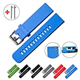 Quick Release Watch Bands - Choice of Colors & Widths (18mm, 20mm or 22mm) - Soft Silicone Rubber - 2 Extra Watch Pins (Blue, 22mm)