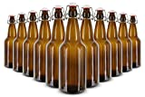Kegco 1 Liter Flip-Top Home Brew Beer Bottles - Amber (Case of 12)