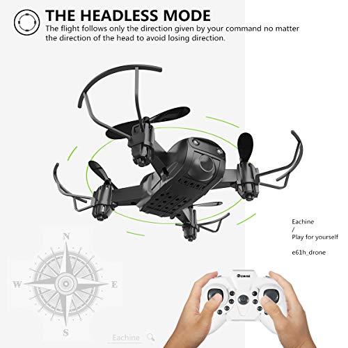 EACHINE E61H Mini Drone per Bambini Adatto per Principianti Funzione di Sospensione Altitudine Headless Mode 3D Flip Luce a LED Drone con Batteria Modulo 2PCS ( Blu)