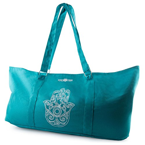 Peace Yoga® Blue Yoga Mat Carrier Tote Bag With Adjustable Straps - Hand Desigh