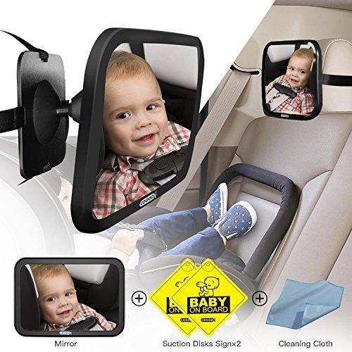 Baby Seat Mirror for Car, COOODI Baby Back Seat Mirror for Rear Facing Car, Extra Large Size, 360 Degree Adjustability, Shatterproof - Essential Safety Accessory For Newborns and Young Children from COOODI