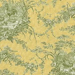 """54"""" Wide Fabric """"La Petite Ferme with Roosters, Color Banana"""" Waverly Toile Fabric By the Yard"""