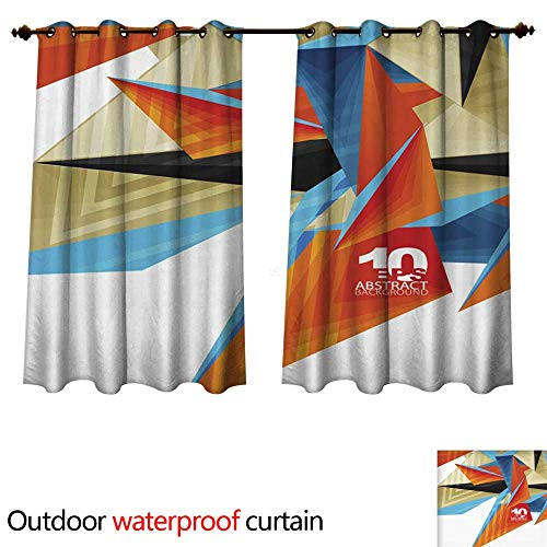Outdoor Ultraviolet Protective Curtains d Modern Triangle Low Poly Abstract Geometric Vector W55 x L72(140cm x 183cm) (Poly Brocade)