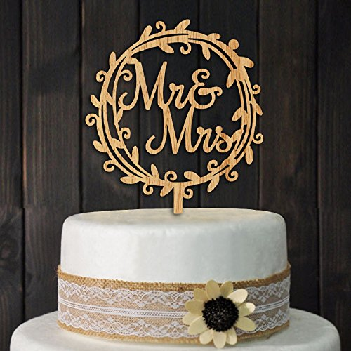Mr and Mrs Cake Toppers Rustic Wood Wedding Party Engagement Decoration