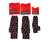 Family Matching Pajamas Sets Christmas Cartoon Pattern Print Long Sleeve Tops and Striped Pants Sleepwear Set (Mom, XL)