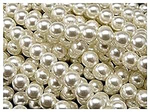 30 perlas de cristal checas con un recubrimiento perlado, redondas de 8mm. Color: crema claro