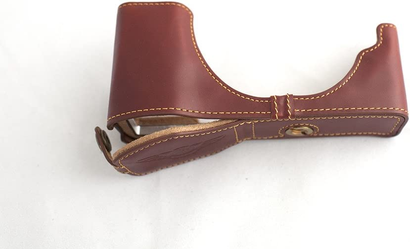 Handmade Genuine real Leather Half Camera Case bag cover for Olympus E-P5 EP5 Brown Bottom opening Version
