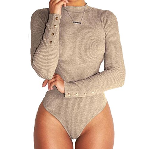 Body da Donna Sexy Slim Fit Leotard a Maniche Lunghe Comodo Stretch Camicia Inverno Autunno Casuale Jumpsuits Tops Cachi