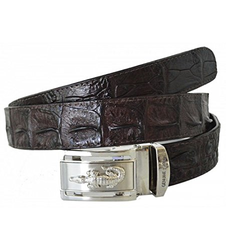 Authentic Sefaro Crocodile Skin Men's Big Hornback Belt 37 Dark Brown by Authentic Sefaro Crocodile Skin