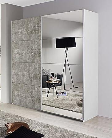 Schwebetürenschrank weiß / grau 2 Türen B 181 cm Schrank ...