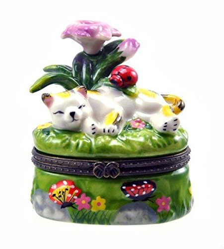 Sleepy Kitty Cat Snoozing Under Purple Flowers Hinged Trinket (Kitty Trinket Box)
