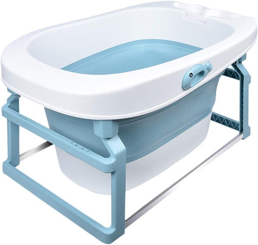 バスタブ ポータブル新生児浴槽 折り畳み式の子供用浴槽 便利なモバイルホーム新生児プール 多機能 折りたたみ収納 85X54X43CM GYF (Color : Blue)