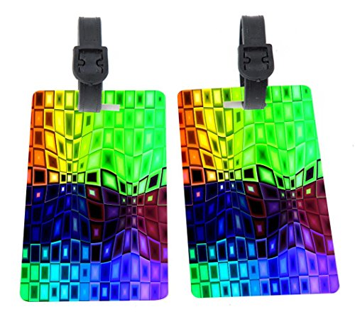 Distorted Rainbow Squares Background Design Plastic Flexi Luggage Identifier Tags + Strap Closure (Square Luggage Tag)