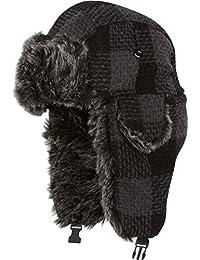 Sakkas Zaire Unisex Plaid Faux Fur Lined Chin Strap Winter Trooper Hat