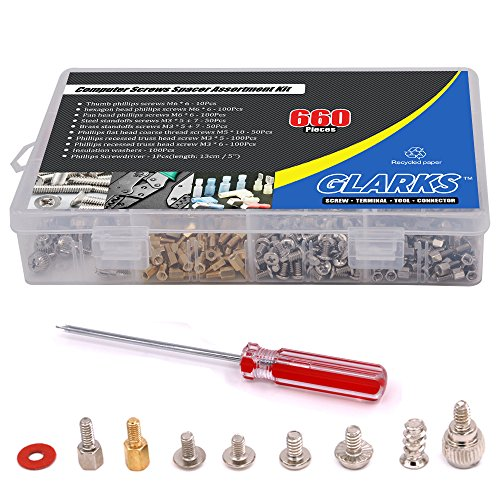 Glarks 660-Pieces Phillips Head Computer PC Spacer Screws Assortment Kit Hard Drive Computer Case Motherboard fan power graphics (Extra: Phillips Screwdriver) by Glarks (Image #5)