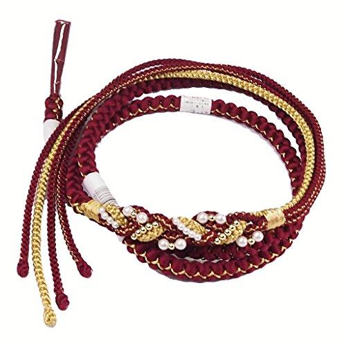 【振袖用 正絹帯締め】帯〆 成人式 卒業式【ホワイト×ゴールド 飾り付】 丸組 振袖小物